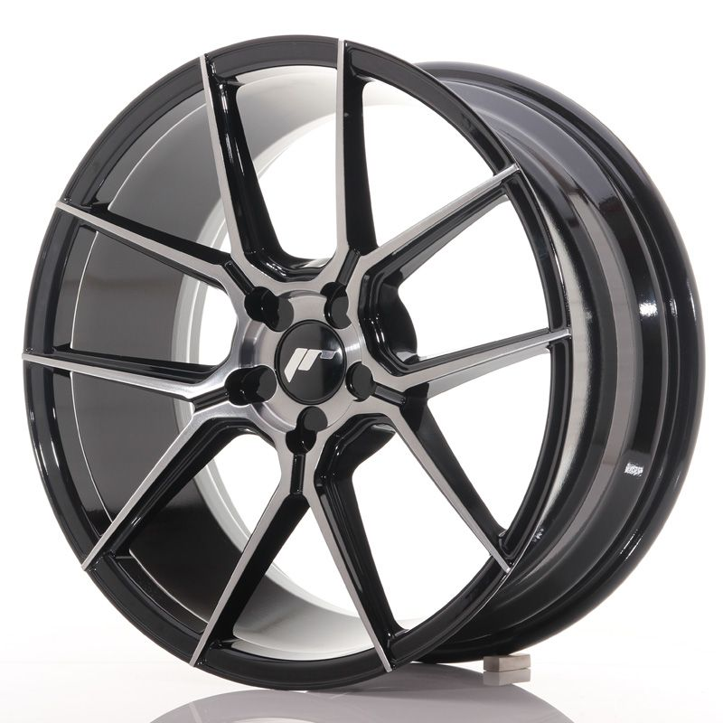 Japan Racing Wheels<br>JR30 Glossy Black Brushed Face (20x8.5)
